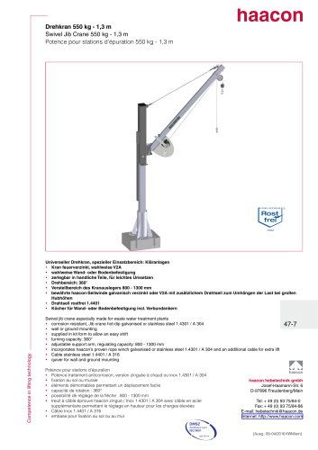 Swivel jib crane 550 kg