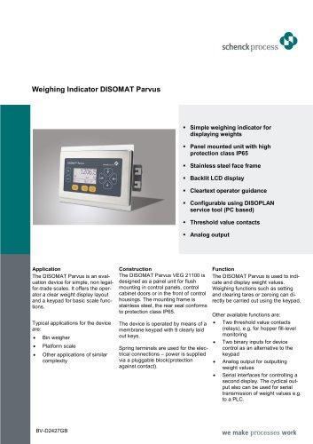 Weighing Indicator DISOMAT Parvus