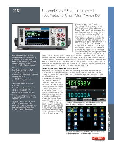 2461, SourceMeter ® SMU Instrument 1000 Watts, 10 Amps Pulse, 7 Amps DC