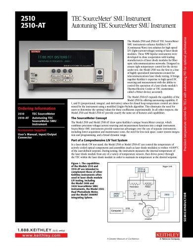 2510 2510-AT TEC SourceMeter® SMU Instrument Autotuning TEC SourceMeter SMU Instrument