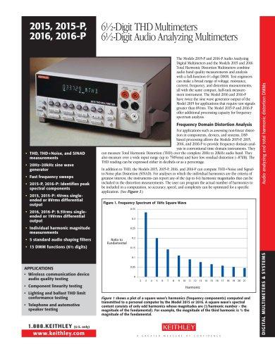 6½-Digit THD Multimeters 6½-Digit Audio Analyzing Multimeters