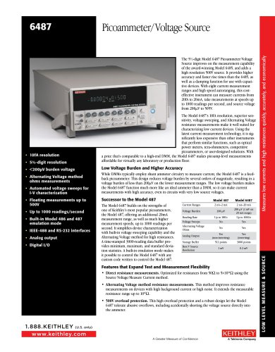 6487 Picoammeter/ Voltage Source