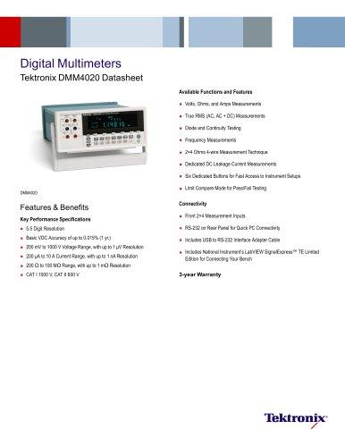 Digital Multimeters Tektronix DMM4020 Datasheet