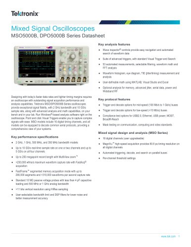 Mixed Signal Oscilloscopes MSO5000B, DPO5000B Series Datasheet