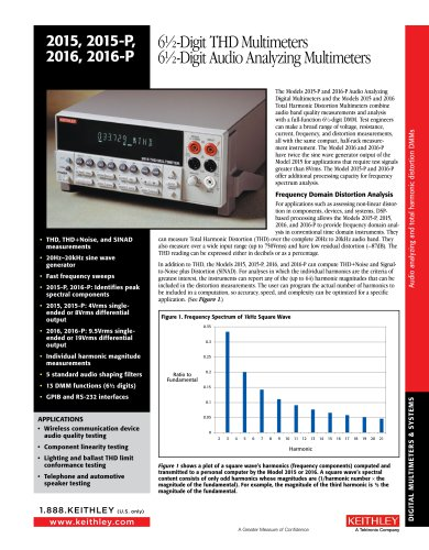Models 2015 and 2015-P 6-1/2 Digit THD Multimeters and Models 2016 and 2016-P 6-1/2 Digit Audio Analyzing Multimeter
