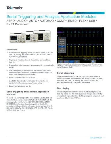 Serial Triggering and Analysis Application Modules AERO • AUDIO • AUTO • AUTOMAX • COMP • EMBD • FLEX • USB • ENET Datasheet
