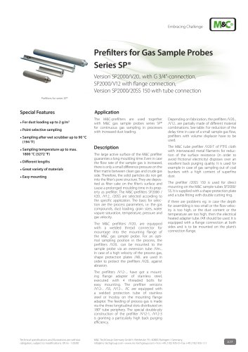 Prefilters for Gas Sample Probes Series SP® - SP2000/V20