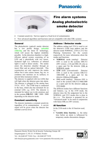 Analog photoelectric smoke detector 4301