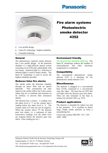 Photoelectric smoke detector 4352