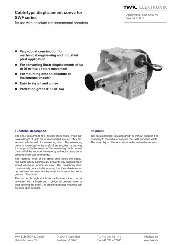 Draw-wire displacement converter SWF