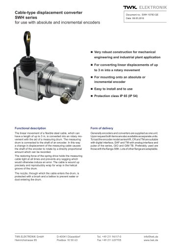 Draw-wire displacement converter SWH