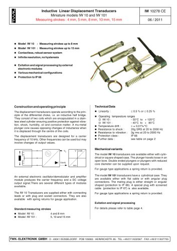 Inductive linear displacement transducer IW10
