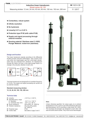 Inductive linear transducers IW120