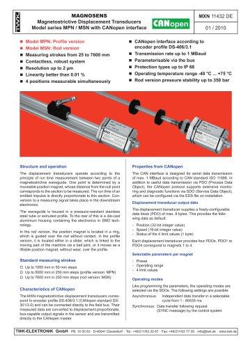Magnetostrictive displacement transducer MPN