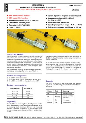 Magnetostrictive displacement transducer MSA