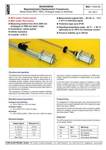 Magnetostrictive displacement transducer MSC
