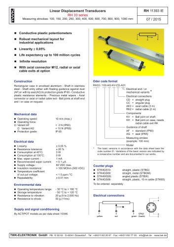Potentiometric displacement transducer RH33