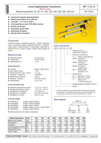 Potentiometric displacement transducer RP13