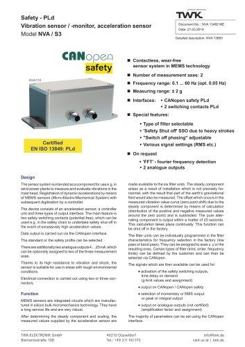 Vibration sensor NVA/S3 PLd