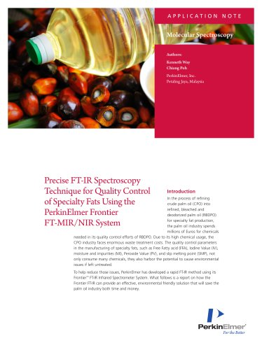 QAQC of Specialty Fats on Palm Oil Application Note