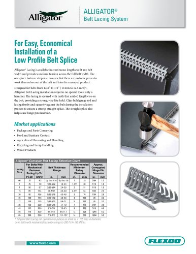 Alligator® Conveyor Belt Lacing Fastener System
