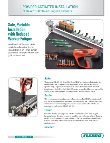 Powder Actuated Installation of Flexco® SR Rivet Hinged Fasteners
