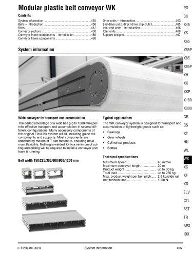 Modular plastic belt conveyor WK