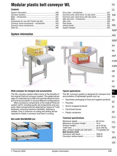 Modular plastic belt conveyor WL