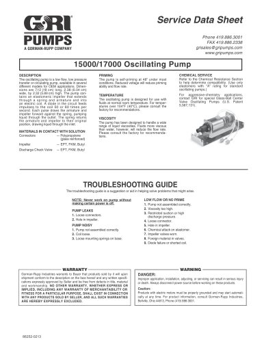 15000/17000 Oscillating Pump