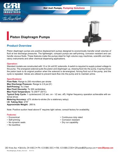 Piston Diaphragm Pumps