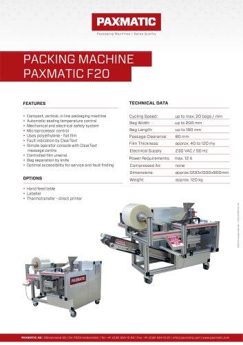 PACKING MACHINE PAXMATIC F20