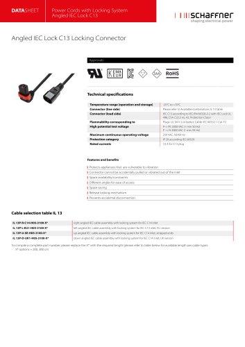 Angled IEC Lock C13 Locking Connector