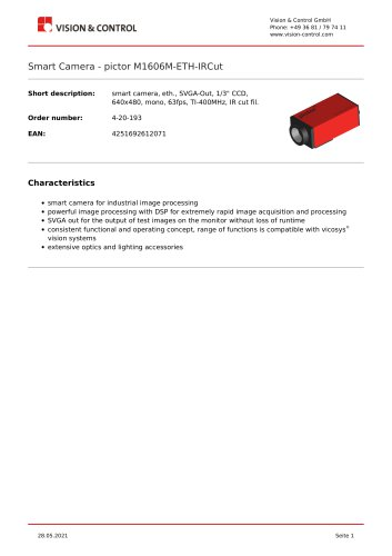 Smart Camera - pictor M1606M-ETH-IRCut