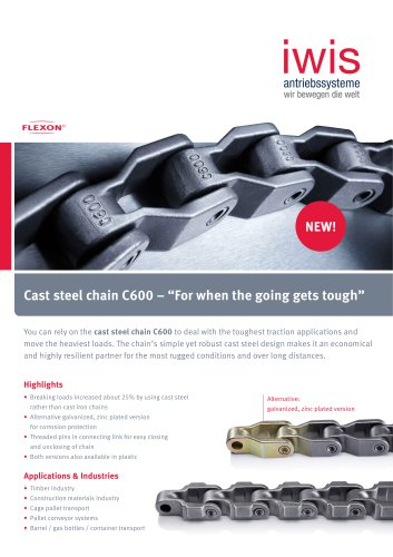 """Cast steel chain C600 - """"For when the going gets tough"""""""