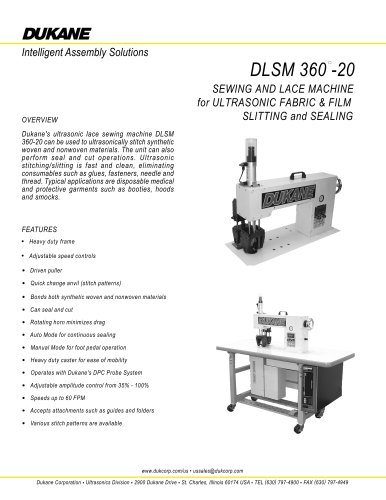 DLSM 360-20 Sewing and Lace Machine for Ultrasonic fabric & film slitting and sealing