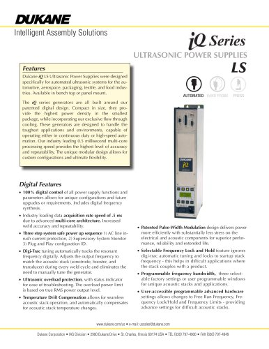 iQ Series LS Ultrasonic Power Supplies for Automation