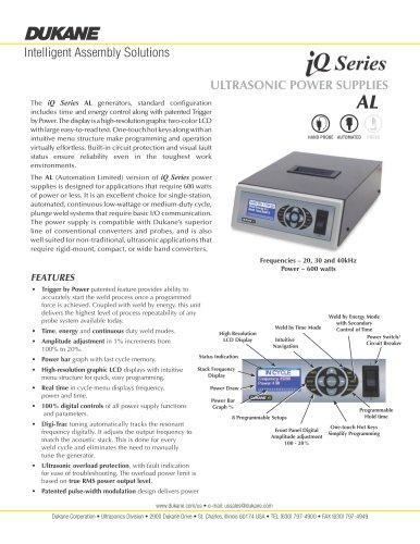 iQ Series AL Ultrasonic Power Supply