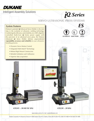 IQ Series Ultrasonic Servo Press Welder