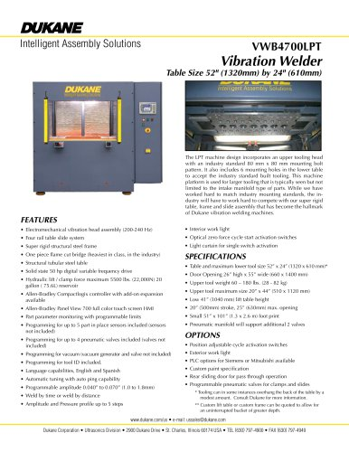 VWB4700LPT Vibration Welder