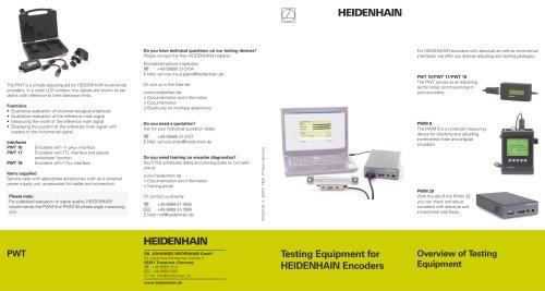 Testing Equipment for HEIDENHAIN Encoders