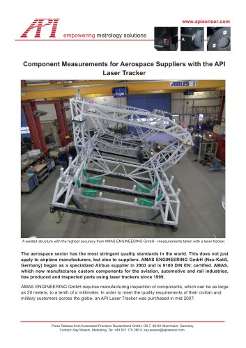 Geometry component measurement for aerospace suppliers with the API Laser Tracker