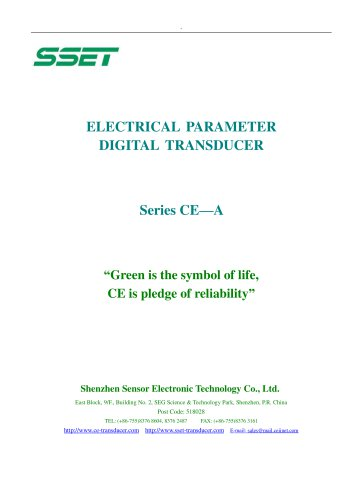 CE-A Catalogue for Transducer with RS485 Digital Output