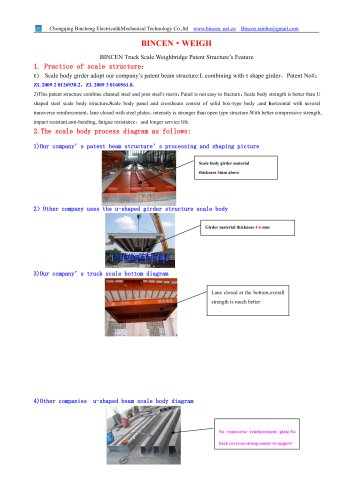 BINCEN truck weighing scale patent beam Advantage for utility invention