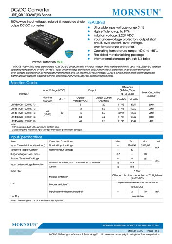 100W, wide input voltage, isolated & regulated single output DC-DC converter