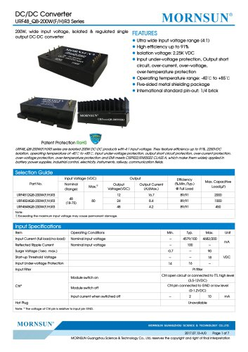75-200W 18-75V Ultra-wide Input Voltage URF48_QB-200WR3 Series