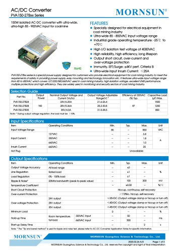 AC/DC Converter PVA150-27Bxx