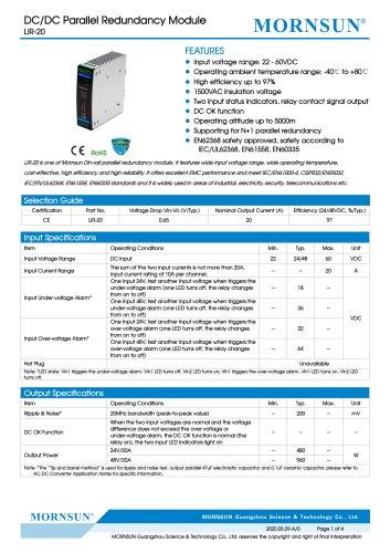 DC/DC Converter wide input LIR-20