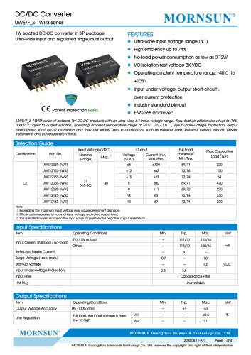 DC/DC Converter wide input UWE_S-1WR3