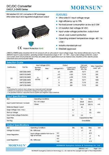 DC/DC Converter wide input UWE_S-3WR3