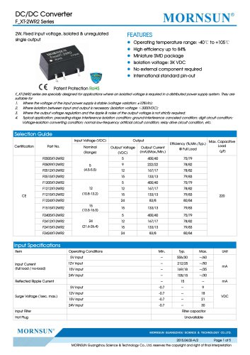 F_XT-2WR2 / 2watt DC-DC converter / Single output